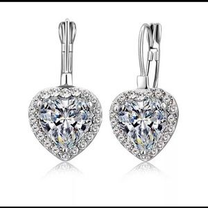 Heart cz pendant earrings